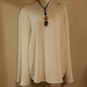 Calvin Klein white blouse with slits in sleeves XL